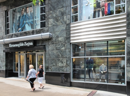 magnificent mile: CHICAGO - JUNE 26: Ermenegildo Zegna store at Magnificent Mile on June 26, 2013 in Chicago. The fashion company is currently one of the biggest global producers of fine fabrics (2.3 million metres per year).