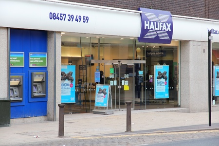 lloyds: BOLTON, UK - APRIL 23: Halifax bank on April 23, 2013 in Bolton, UK. Halifax is part of Lloyds Banking Group, one of largest banking corporations in Europe. Lloyds had GBP 23.5 billion of revenue in 2011.