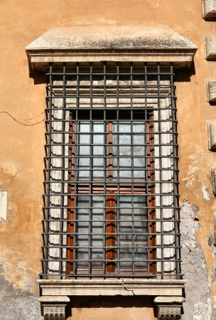 architectural feature: Rome, Italy - architectural feature in Trastevere district, old window.