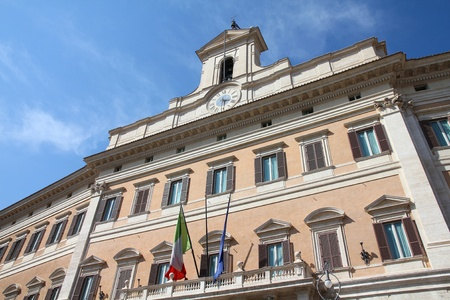 governmental: Rome, Italy. Montecitorio palace, Italian parliament - governmental building.