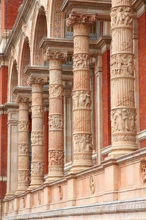 London, United Kingdom - architecture features of Victoria and Albert Museum exterior ornaments