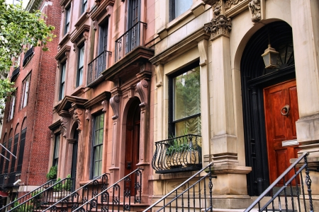 tenement: New York City, United States - old townhouses in Turtle Bay neighborhood in Midtown Manhattan