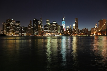New York City, United States - Manhattan skyline from Brooklyn. Night view. photo