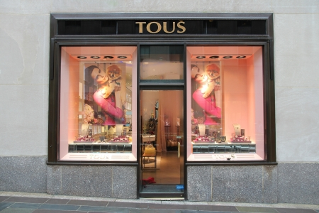 exists: NEW YORK - JULY 1: Tous jewelry store on July 1, 2013 in New York. Tous exists since 1920 and had 305 million EUR in revenue in 2009.