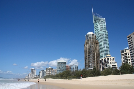 surfers: Waterfront skyline with famous Q1 skyscraper - Surfers Paradise city in Gold Coast region of Queensland, Australia