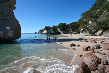 New Zealand, North Island - famous Cathedral Cove at Coromandel peninsula. photo
