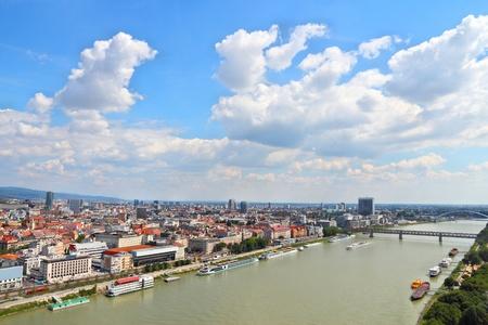 riverfront: Bratislava, capital city of Slovakia. Cityscape with Danube river.