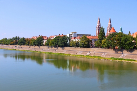 szeged: Szeged, Hungary. City in Csongrad county. Cityscape with Tisza river.