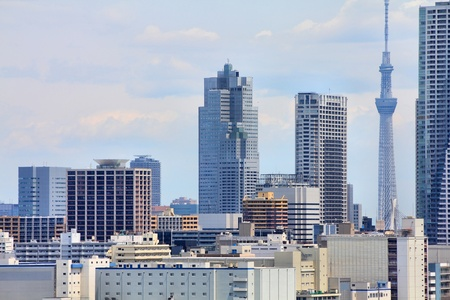 Tokyo, Japan - cityscape of Chuo district. Modern city skyline. photo