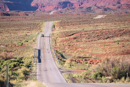 Utah, United States - road through famous Castle Valley. Stock Photo - 22096916