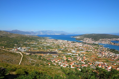 Croatia - aerial view of Trogir in Dalmatia. Ciovo island on the right. photo