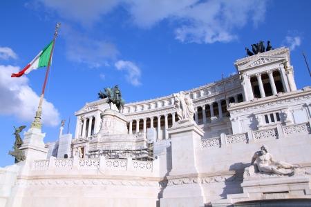 vittorio emanuele: Rome, Italy. Famous Vittoriano with gigantic equestrian statue of King Vittorio Emanuele II. Stock Photo