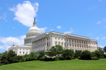 Washington DC, capital city of the United States. National Capitol building with US flag. photo