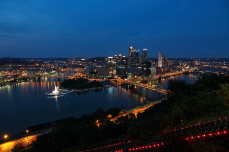 allegheny: Pittsburgh, Pennsylvania - city evening view in the United States. Skyline with Allegheny and Monongahela River. Stock Photo