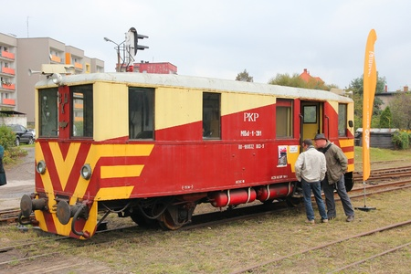 narrowgauge: BYTOM, POLAND - SEPTEMBER 21: People visit historic narrow gauge train on September 21, 2013 in Bytom, Poland. In September 2013 regional narrow gauge celebrated 160th anniversary.