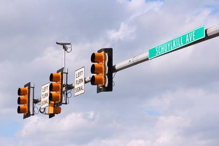 Philadelphia, Pennsylvania in the United States. Schuylkill Avenue traffic lights with traffic surveillance camera. photo