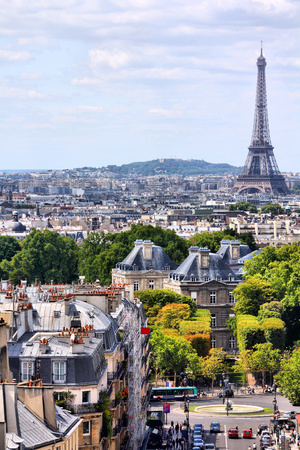 Paris, France - cityscape view with Eiffel Tower.  photo