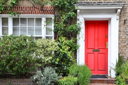 old english: London, United Kingdom - typical Victorian architecture door.