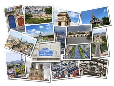 Postcard collage from Paris, France. Collage includes major landmarks like Eiffel Tower, Notre Dame, Trocadero and Champs Elysees.