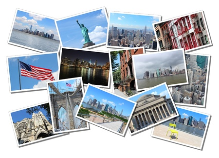 Postcard collage from New York City, USA. Collage includes major landmarks like Brooklyn Bridge, Statue of Liberty, Manhattan skyline and Columbia University.