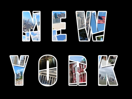 Letter collage from New York City, USA. Collage includes major landmarks like Brooklyn Bridge, Statue of Liberty, Manhattan skyline and Columbia University. photo