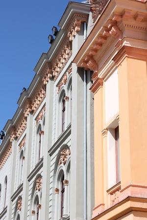 pecs: Pecs, Hungary. City in Baranya county. Old apartment building.