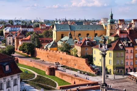 warszawa: Warsaw, Poland. Old Town view with city walls.  Stock Photo