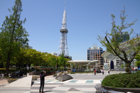 NAGOYA, JAPAN - APRIL 28: People visit Nagoya TV Tower on April 28, 2012 in Nagoya, Japan. The building was finished in 1954, is 180m tall and is one of Nagoya landmarks.