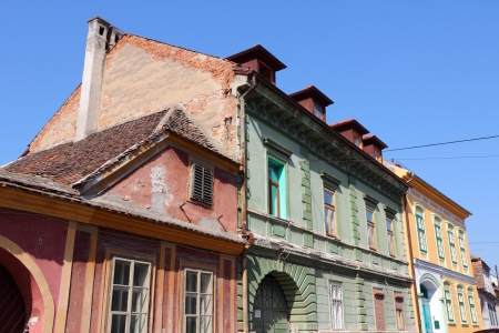 Sibiu, town in Transylvania, Romania. Old townhouses. photo