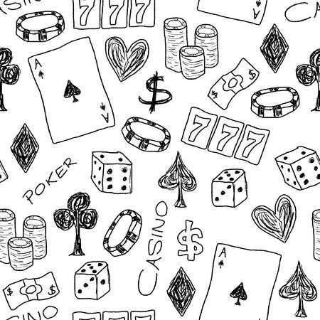 jeu de carte: Doodle fond illustration parfaite de texture - concepts de casino avec le poker, d?s et jeux de hasard.