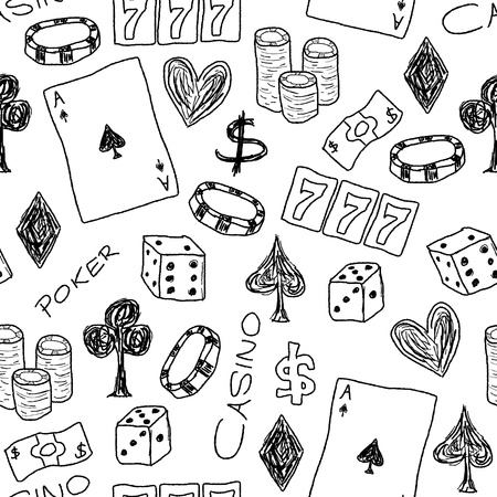card game: Doodle seamless background texture illustration - casino concepts with poker, dice and gambling. Illustration