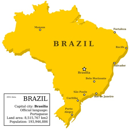 largest: Map of Brazil. Country outline with information box and 10 largest cities.