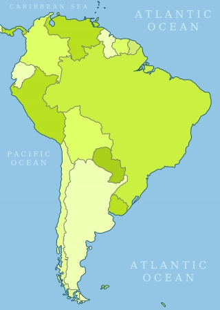 political division: Map of South America. Political division. Countries are separate objects, you can change color of every country.