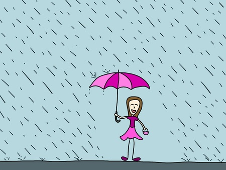 Cartoon doodle illustration - happy woman in the rain. Rainy weather. Stock Vector - 22820249