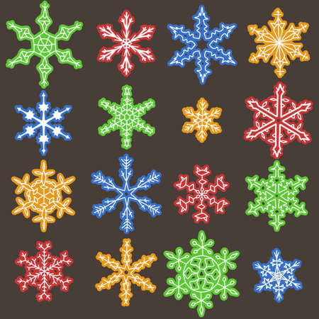 Snowflake winter icons set. Collection of colorful snow flake symbols. Vector