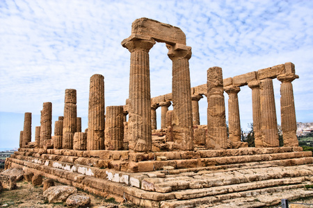 Agrigento, Sicily island in Italy. Famous Valle dei Templi, UNESCO World Heritage Site. Greek temple - remains of the Temple of Juno. photo