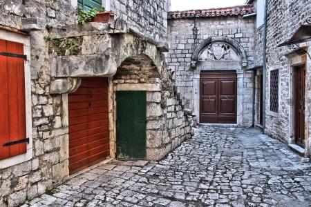 dalmatia: Croatia - Trogir in Dalmatia (UNESCO World Heritage Site). Old town detail.