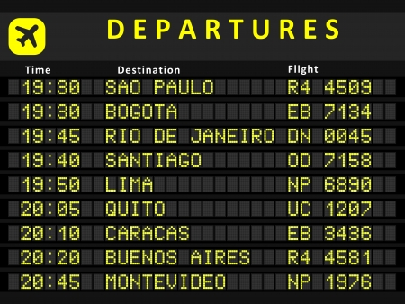 Departure board - destination airports. Busiest airports in South America: Sao Paulo, Bogota, Rio de Janeiro, Santiago, Lima, Quito, Caracas, Buenos Aires and Montevideo. Illustration