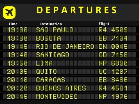 �board: Junta de salida - aeropuertos de destino. Aeropuertos con mayor actividad en Sudam�rica: Sao Paulo, Bogot�, R�o de Janeiro, Santiago, Lima, Quito, Caracas, Buenos Aires y Montevideo. Vectores