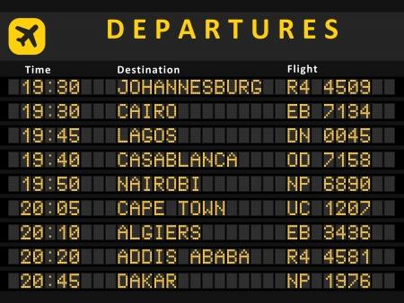 Abreise-Board - Zielflughäfen. Verkehrsreichsten Flughäfen in Afrika: Johannesburg, Kairo, Lagos, Kapstadt, Nairobi, Casablanca, Algier, Addis Abeba und Rabat.