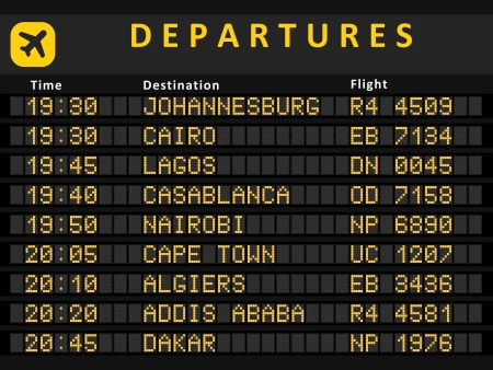 Departure board - destination airports. Busiest airports in Africa: Johannesburg, Cairo, Lagos, Cape Town, Nairobi, Casablanca, Algiers, Addis Ababa and Rabat. Vector