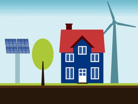 Eco home - property with self sustainable renewable energy sources. Wind turbine and solar power panels. Vector