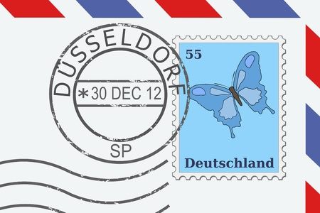 Mail from Germany - postage stamp and post mark from Dusseldorf. German letter. Vector