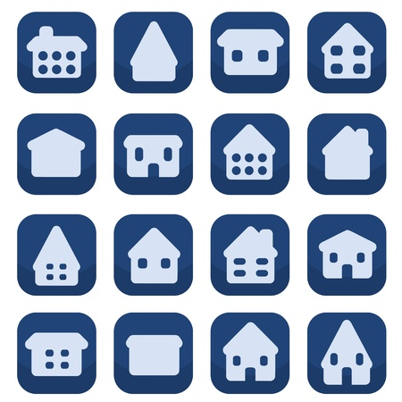 Home icon button set - house rounded icon collection. Illustration group. Private residential architecture. Stock Vector - 22820306