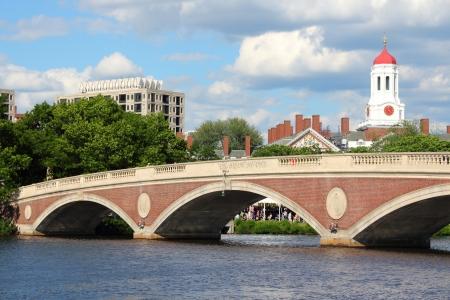 Cambridge, Massachusetts in de Verenigde Staten. Beroemde Harvard University campus met Charles River brug.