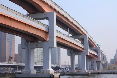 multilevel: Kobe, Giappone - citt� nella regione di Kansai nella prefettura di Hyogo. Superstrade multilivello. Archivio Fotografico