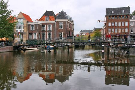 agglomeration: LEIDEN, NETHERLANDS - AUGUST 28: People visit old town on August 28, 2008 in Den Bosch, Netherlands. Leiden is the 6th largest agglomeration in the Netherlands (332,000 people).
