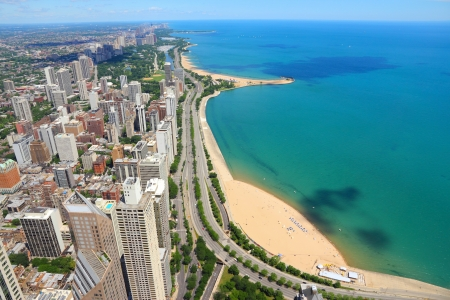 Chicago, Illinois in the United States. City skyline with Lake Michigan and Gold Coast historic district, North Side and Lincoln Park. photo