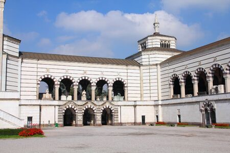 monumental cemetery: Milan, Italy. Famous landmark - Famedio chapel at the Monumental Cemetery (Cimitero Monumentale).