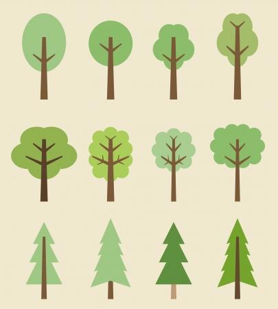 Icono del árbol set - árboles lindos dibujos animados. Colección de la naturaleza.
